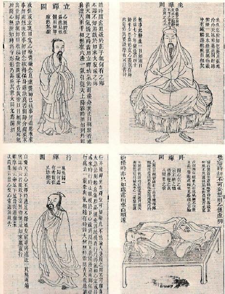 Kitajska risba prikazuje meditacijo stoje, sede, leže in med hojo.