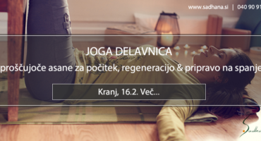 16.2., Kranj: JOGA DELAVNICA – Sproščujoče asane za počitek, regeneracijo & pripravo na spanje